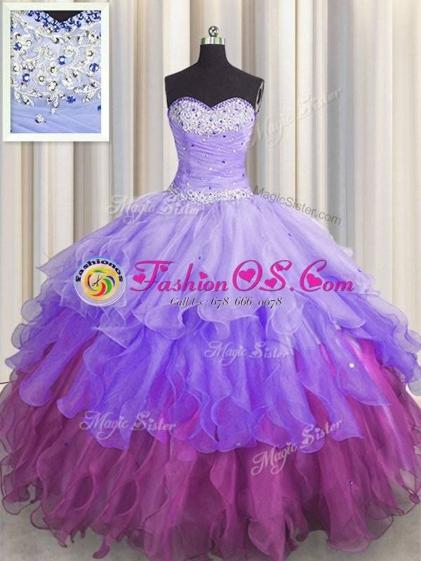Organza Sleeveless Floor Length Vestidos de Quinceanera and Beading and Ruffles and Ruffled Layers and Sequins