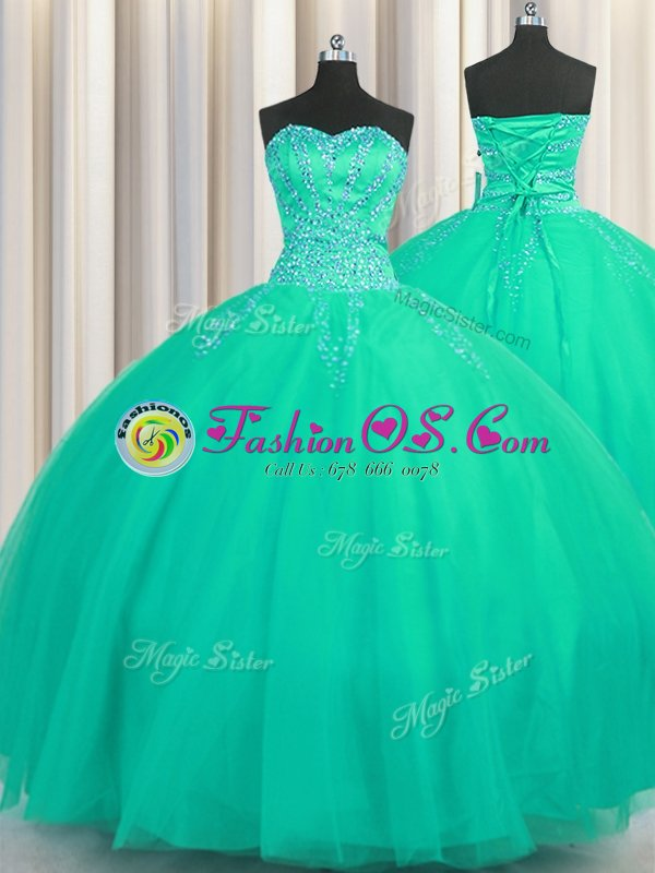 Classical Really Puffy Floor Length Turquoise Quinceanera Gown Tulle Sleeveless Beading