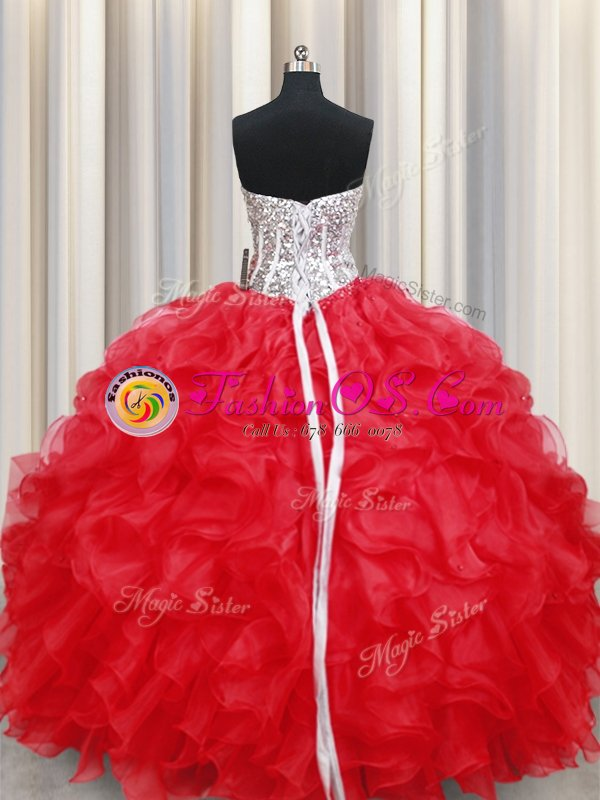 Top Selling Visible Boning Zipper Up Light Yellow Ball Gowns Organza Sweetheart Sleeveless Beading and Ruffles Floor Length Zipper 15 Quinceanera Dress