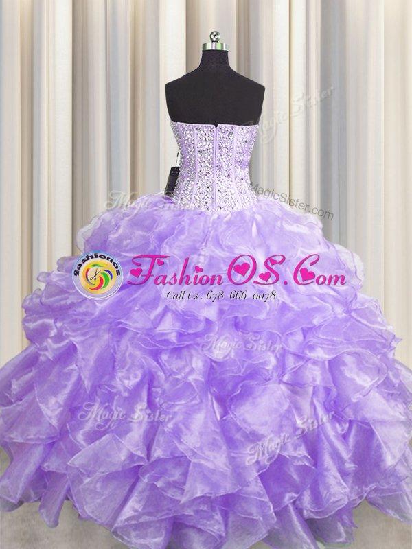 Cute Visible Boning Zipper Up Sweetheart Sleeveless Organza Ball Gown Prom Dress Beading and Ruffles Zipper