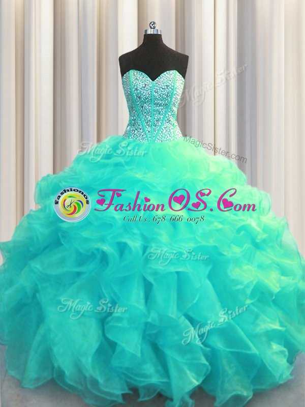 Sophisticated Visible Boning Sleeveless Beading and Ruffles Lace Up 15 Quinceanera Dress