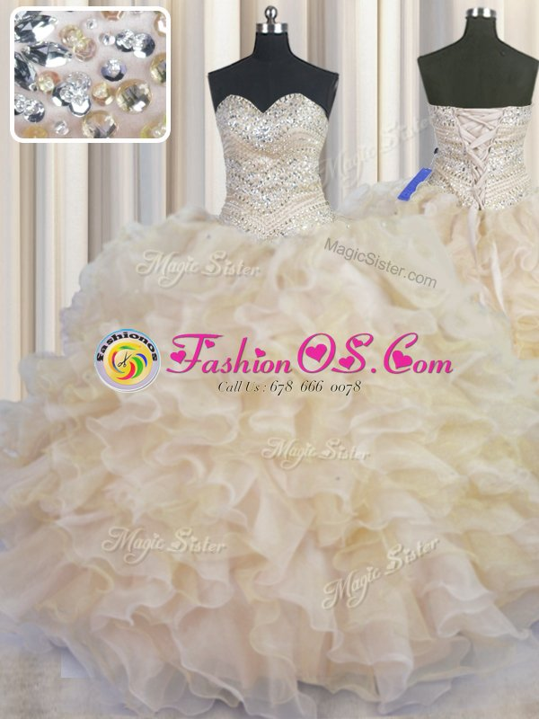 Zipper Up Ball Gowns Beading and Appliques Ball Gown Prom Dress Zipper Organza Sleeveless Floor Length