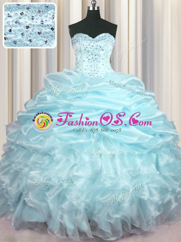 Pretty Pick Ups Light Blue Sleeveless Organza Brush Train Lace Up Sweet 16 Quinceanera Dress for Military Ball and Sweet 16 and Quinceanera