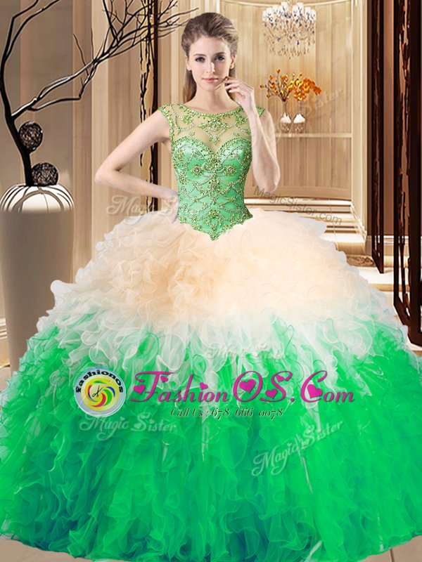 Trendy Multi-color Ball Gowns Scoop Sleeveless Tulle Floor Length Lace Up Beading Sweet 16 Quinceanera Dress