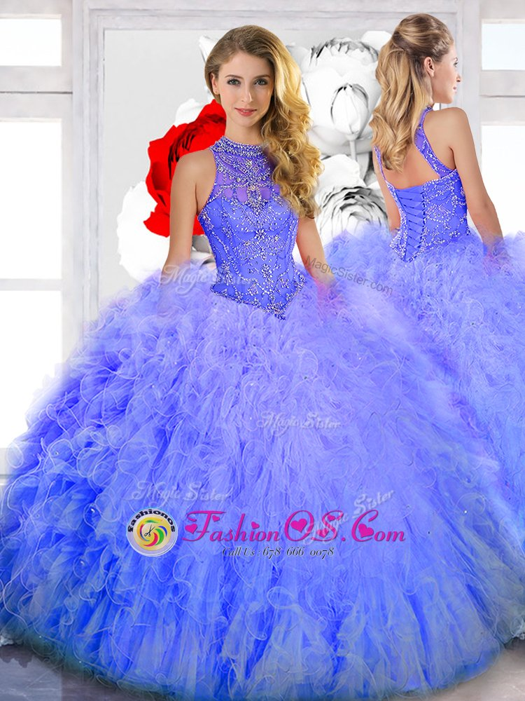 Floor Length Lavender 15 Quinceanera Dress High-neck Sleeveless Lace Up