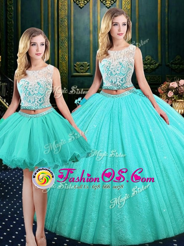 Lovely Three Piece Scoop Blue Lace Up Quinceanera Gown Lace and Sequins Sleeveless Floor Length