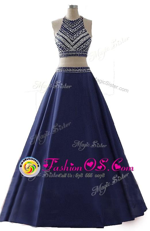Navy Blue Chiffon Zipper Scoop Sleeveless Floor Length Prom Dress Beading
