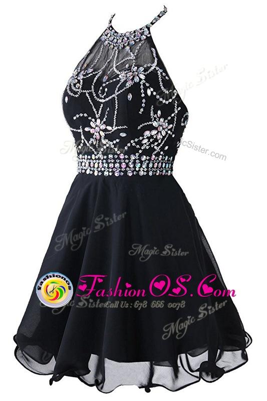 Super Scoop Sleeveless Zipper Homecoming Dress Black Organza