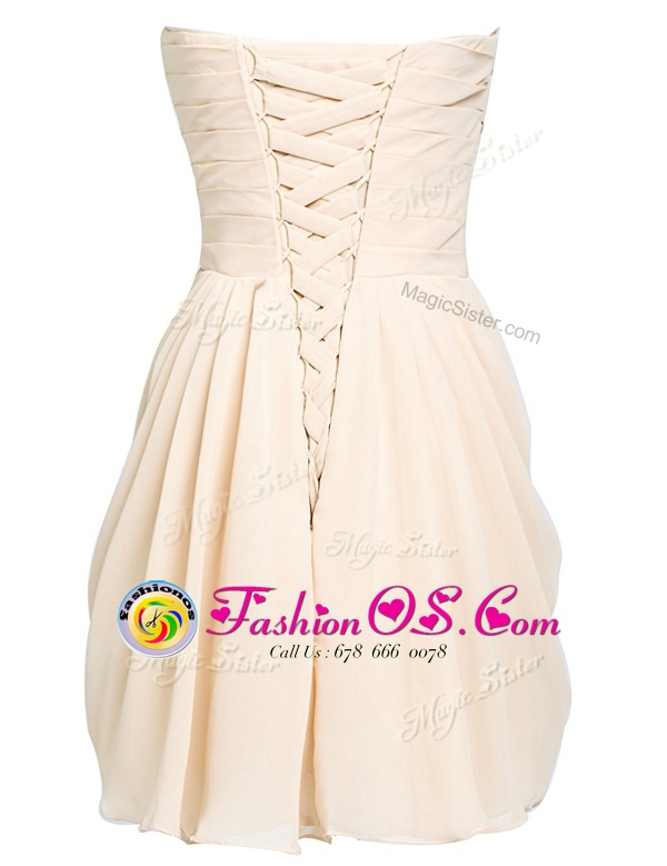 Decent Champagne Lace Up Sweetheart Belt Prom Dress Organza Sleeveless