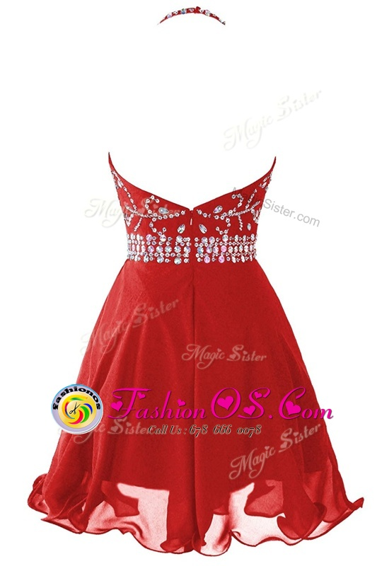 Great Mini Length Red Homecoming Dress Halter Top Sleeveless Zipper
