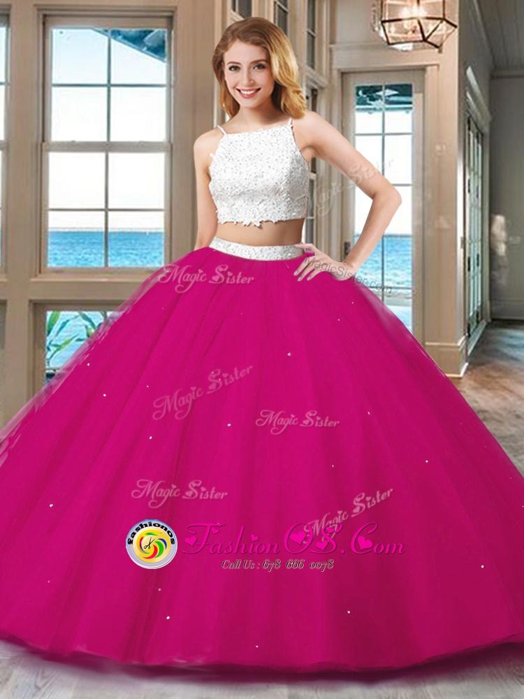 Glorious Floor Length Pink 15th Birthday Dress Straps Sleeveless Backless