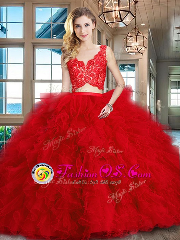Scoop Backless Organza Sleeveless With Train Quinceanera Gown Brush Train and Beading and Ruffles