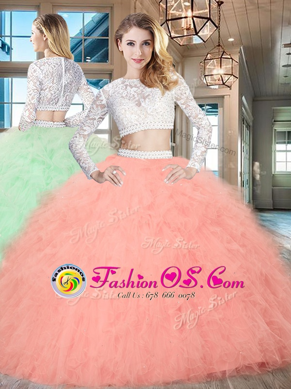 Best Selling Scoop Tulle Long Sleeves Floor Length Ball Gown Prom Dress and Beading and Lace and Ruffles