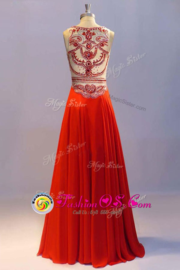 Cheap Scoop Coral Red Sleeveless Floor Length Beading and Pleated Side Zipper Homecoming Dress
