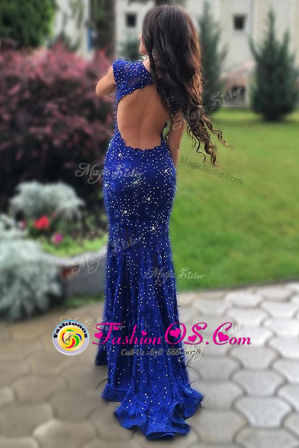 Mermaid Scoop Sleeveless Dress for Prom With Train Sweep Train Beading Royal Blue Lace