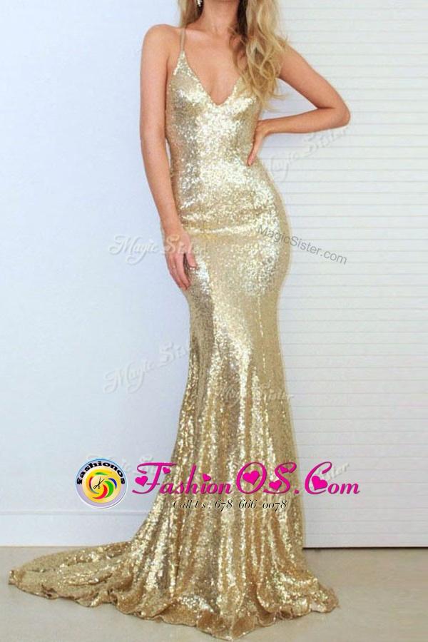 Sequins Mermaid Sleeveless Gold Prom Dresses Sweep Train Criss Cross
