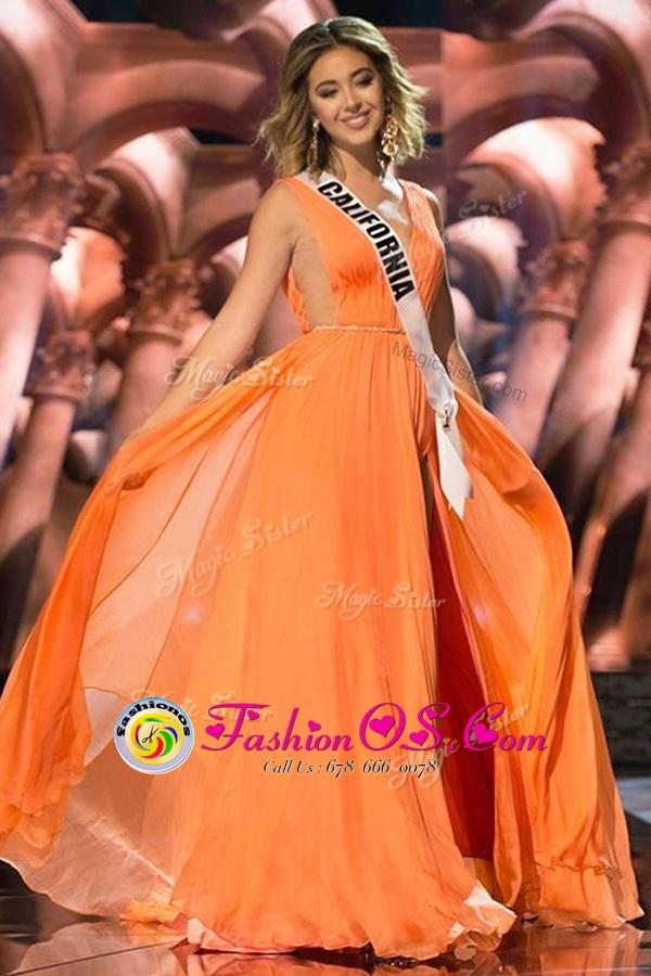 Customized Orange Chiffon Zipper Prom Gown Sleeveless Sweep Train Sashes|ribbons