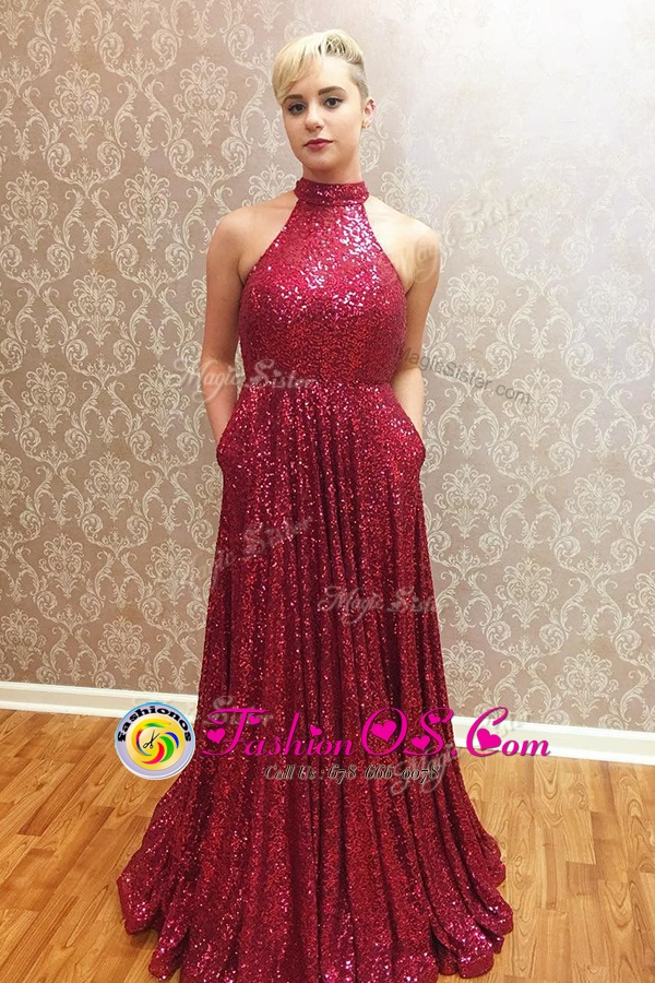 Halter Top Floor Length Zipper Prom Dress Wine Red and In for Prom with Sequins