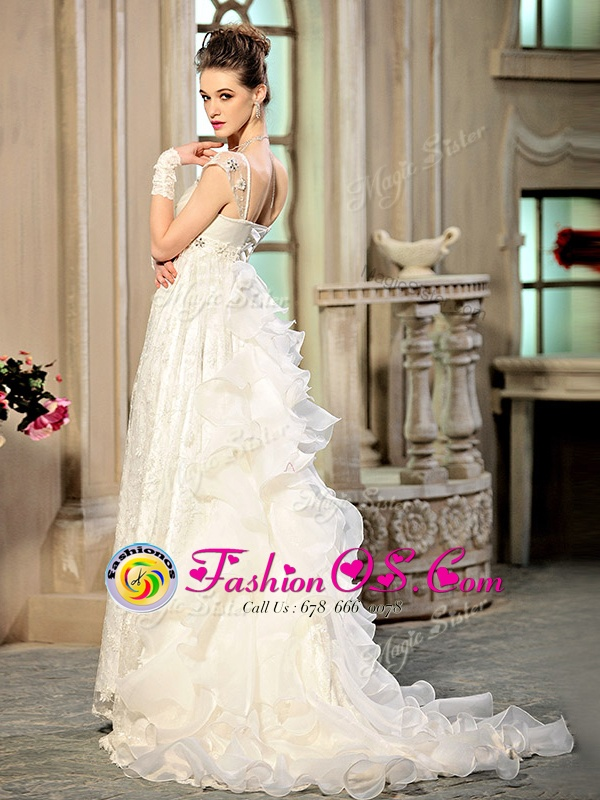 Trendy Organza Sweetheart Cap Sleeves Brush Train Lace Up Beading and Appliques and Ruffles Wedding Gowns in White