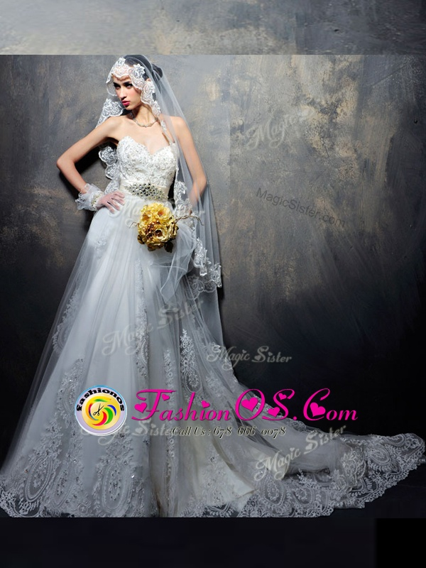 Cheap White Sleeveless Chiffon Court Train Lace Up Wedding Dress for Wedding Party