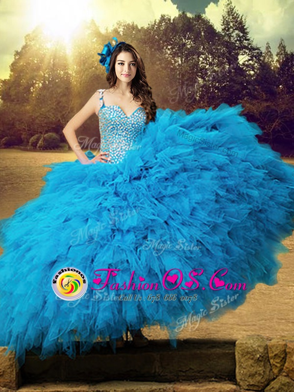 Sumptuous Straps Baby Blue Sleeveless Tulle Lace Up 15th Birthday Dress for Military Ball and Sweet 16 and Quinceanera
