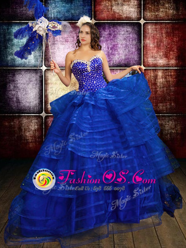 Trendy Sleeveless Beading and Ruffled Layers Lace Up 15 Quinceanera Dress