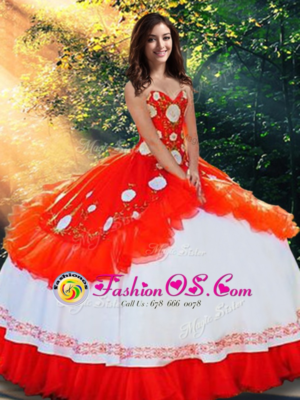 Popular Sweetheart Sleeveless Organza and Taffeta Quinceanera Dresses Embroidery and Ruffles Lace Up