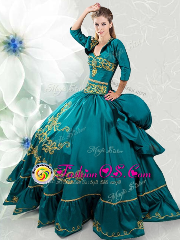 Traditional Teal Lace Up Sweetheart Beading and Embroidery Sweet 16 Quinceanera Dress Taffeta Sleeveless