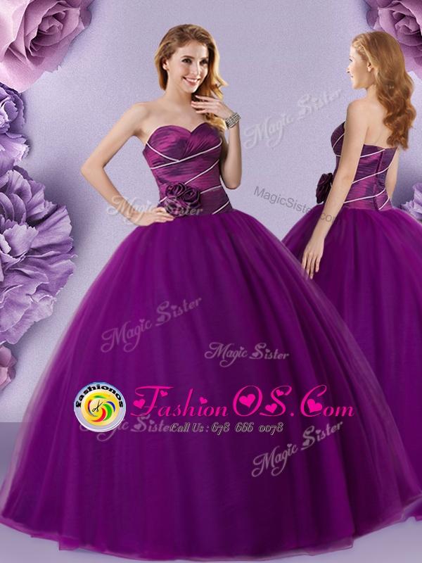 Flirting Dark Purple Sleeveless Hand Made Flower Floor Length 15th Birthday Dress