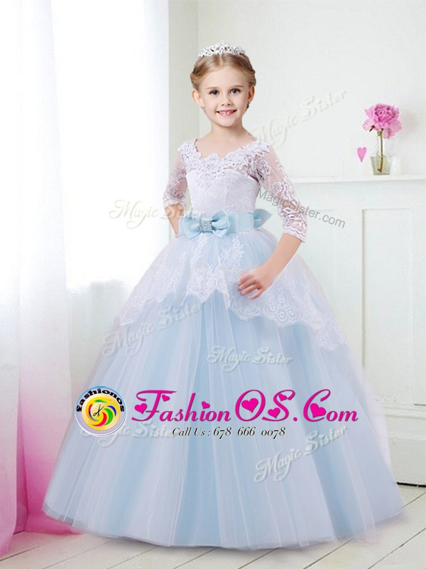 Light Blue Ball Gowns Scoop Half Sleeves Tulle With Brush Train Lace Up Lace and Bowknot Flower Girl Dresses