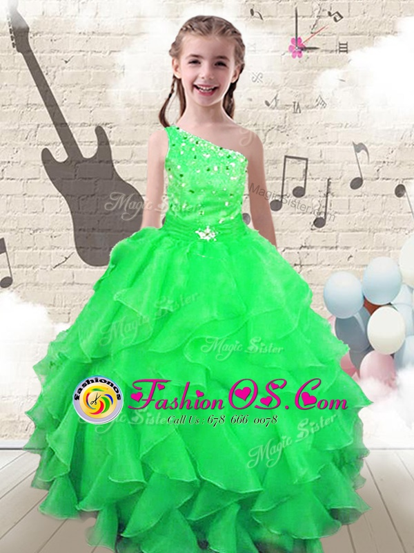 Discount Floor Length Apple Green Little Girl Pageant Dress One Shoulder Sleeveless Lace Up