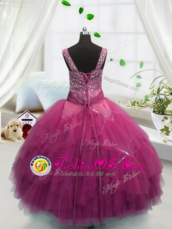 Rose Pink Straps Neckline Beading and Ruffles Girls Pageant Dresses Sleeveless Lace Up