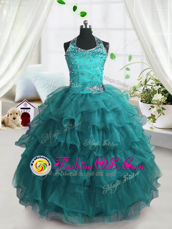Modern Organza Scoop Sleeveless Zipper Beading and Ruffles Little Girl Pageant Dress in Light Blue