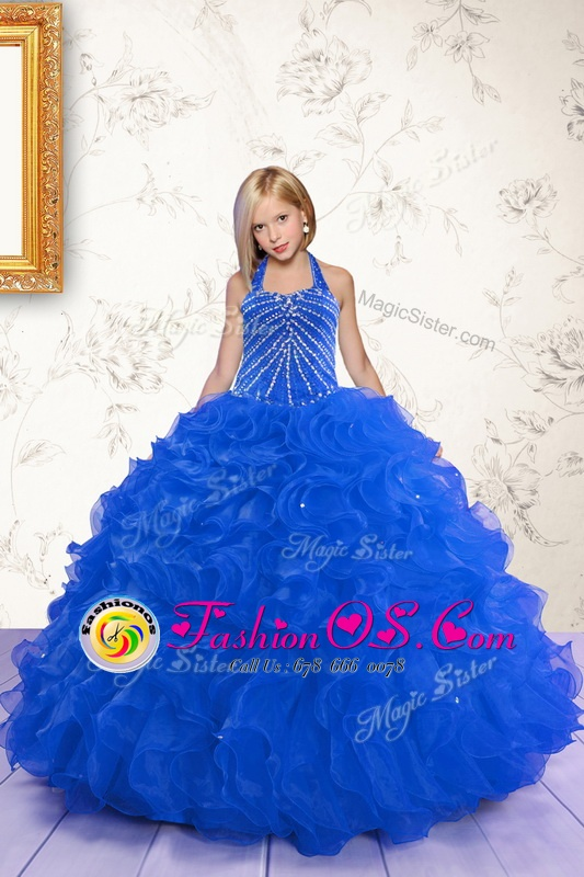 Elegant Halter Top Royal Blue Lace Up Kids Pageant Dress Beading and Ruffles Sleeveless Floor Length