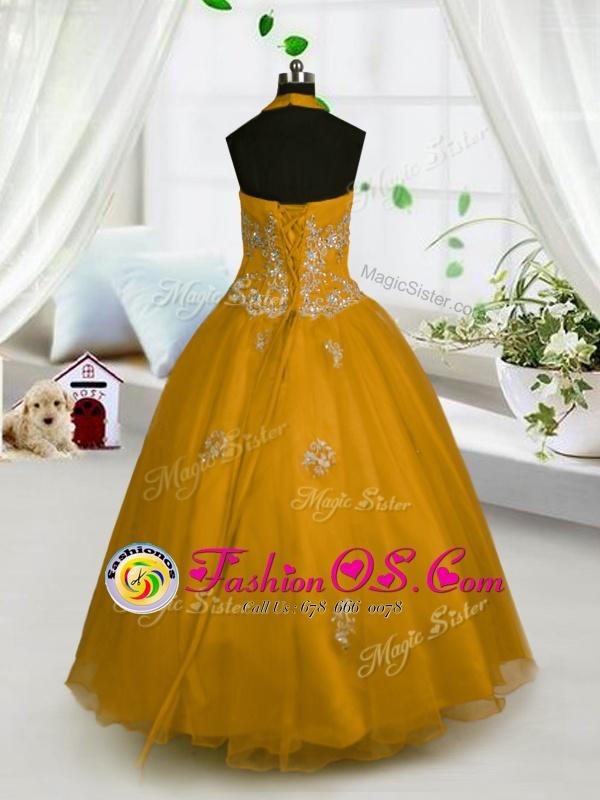 Wonderful Halter Top Sleeveless Little Girls Pageant Dress Wholesale Floor Length Appliques Orange Tulle