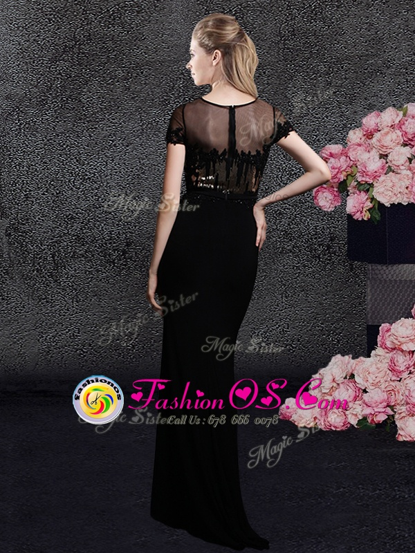New Arrival Scoop Black Zipper Mother Of The Bride Dress Appliques and Sequins Short Sleeves With Train Sweep Train