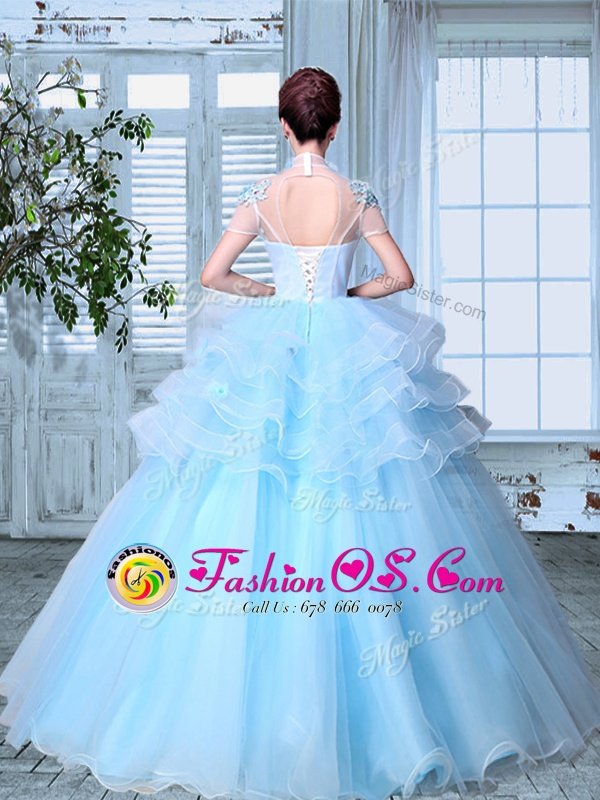 Captivating SeeThrough Floor Length Light Blue Ball Gown Prom Dress Organza Short Sleeves Appliques and Ruffled Layers