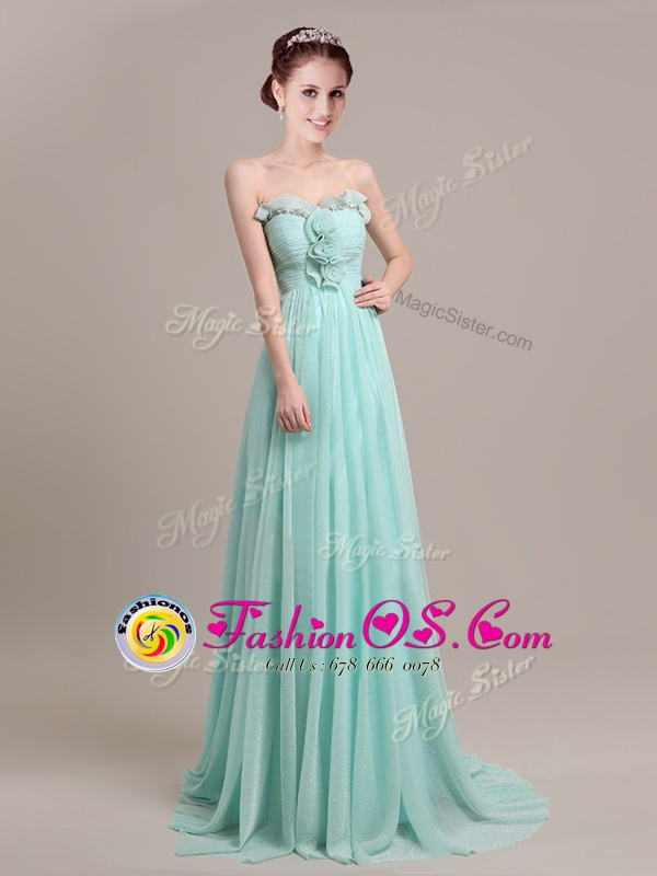 Glamorous Sleeveless Brush Train Zipper With Train Beading and Hand Made Flower Homecoming Dress Online