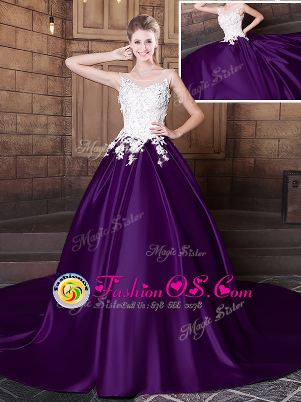 Customized Scoop Elastic Woven Satin Sleeveless With Train Vestidos de Quinceanera Court Train and Lace and Appliques