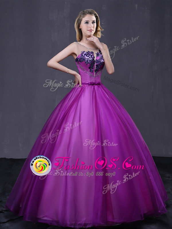 Best Scoop Purple Tulle Lace Up 15th Birthday Dress Sleeveless Floor Length Beading and Appliques
