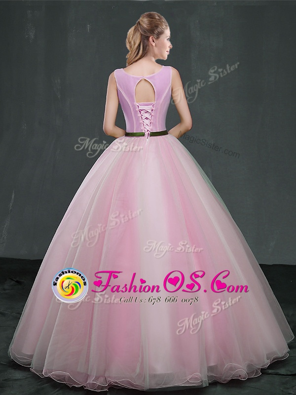 Fitting Pink Scoop Neckline Appliques Ball Gown Prom Dress Sleeveless Lace Up