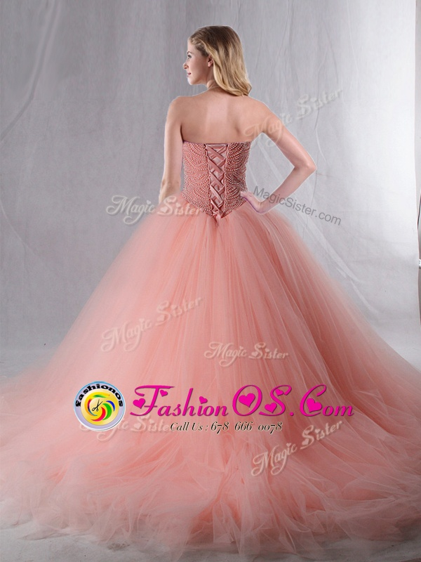 Beauteous Ball Gowns Ball Gown Prom Dress Hot Pink Sweetheart Organza Sleeveless Floor Length Lace Up