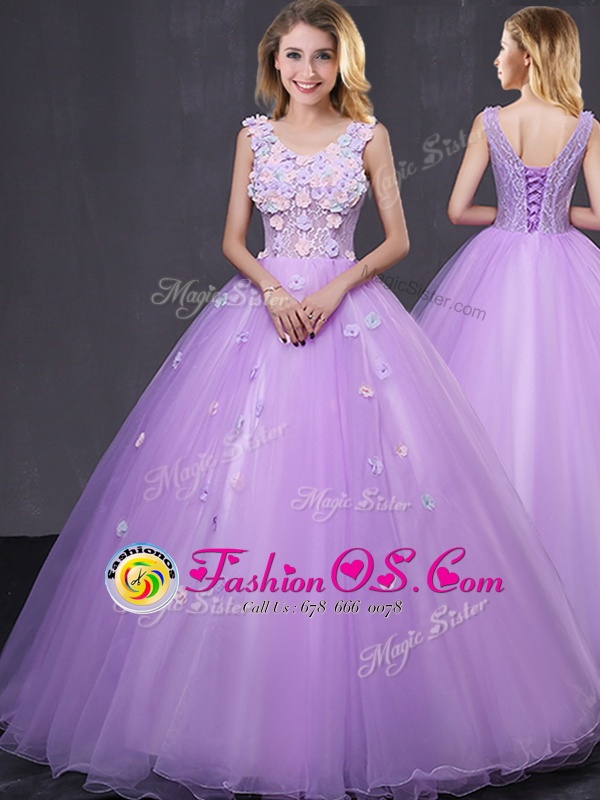 V-neck Sleeveless Quince Ball Gowns Floor Length Lace and Appliques Lavender Tulle