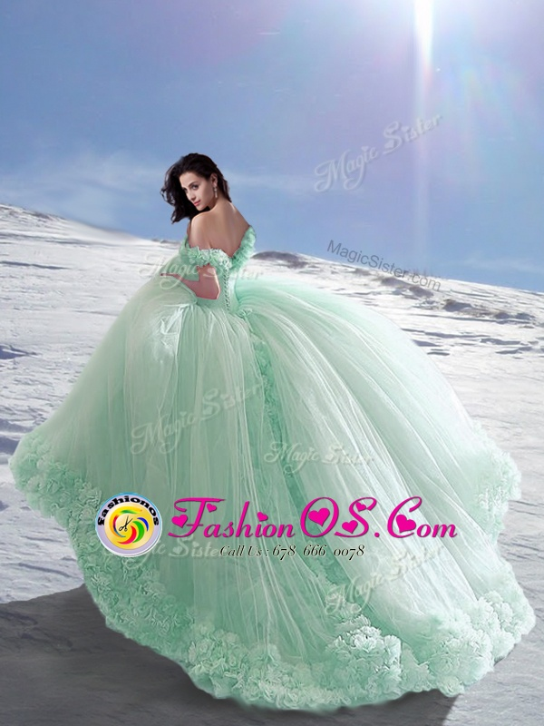 Off the Shoulder Apple Green Sleeveless Court Train Hand Made Flower Vestidos de Quinceanera