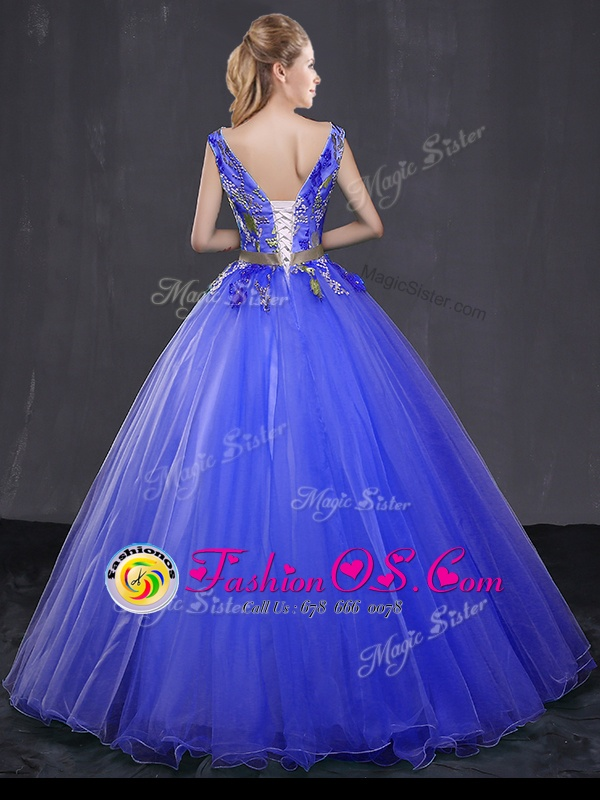 Custom Designed Sleeveless Tulle Floor Length Lace Up Vestidos de Quinceanera in Royal Blue for with Appliques and Belt