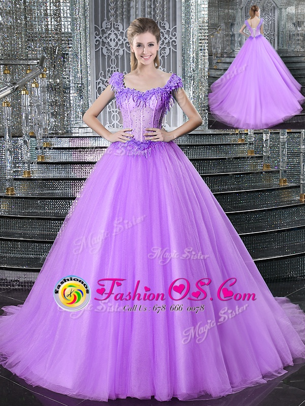 Brush Train Ball Gowns Quinceanera Dress Lilac Straps Tulle Sleeveless With Train Lace Up