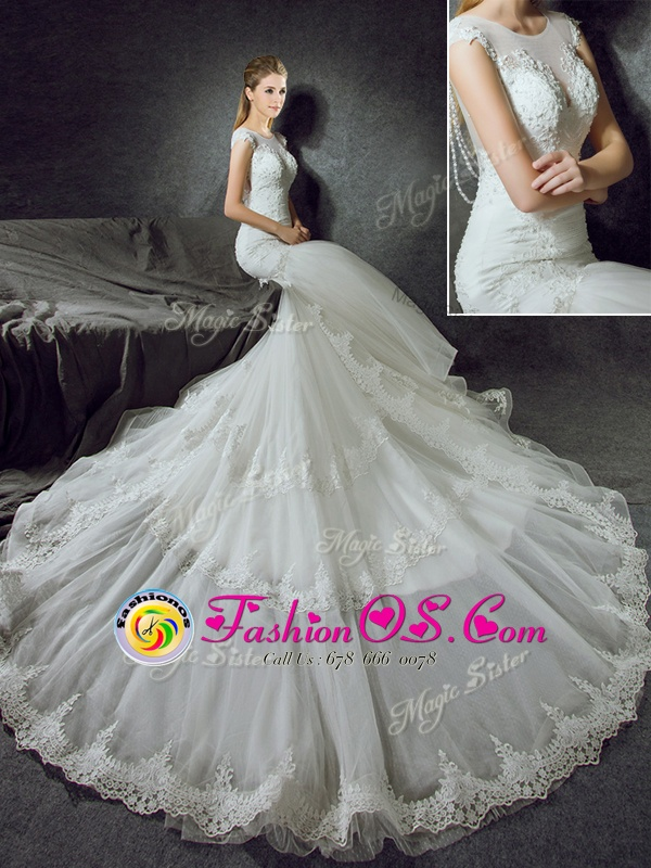 Mermaid Scoop Sleeveless With Train Lace Side Zipper Wedding Gowns with White Court Train