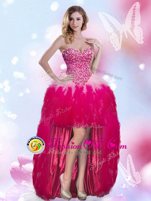 Chiffon Sleeveless High Low Homecoming Dress and Beading