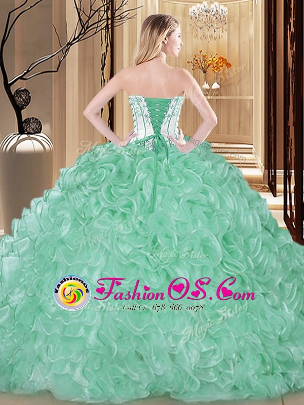 Organza Sleeveless Floor Length Vestidos de Quinceanera and Embroidery and Ruffles