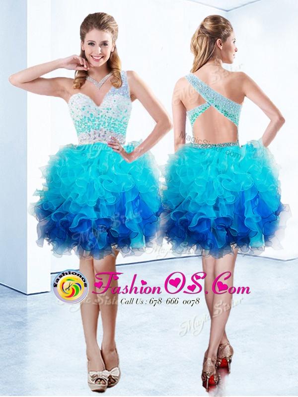 Custom Design Aqua Blue One Shoulder Neckline Beading and Ruffles Homecoming Dress Sleeveless Criss Cross